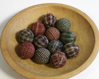 "Primitive Country 1.5"" Homespun Fabric Rag Balls Ragballs Navy, Green, Burgundy Ball Jar Bowl Basket Filler"