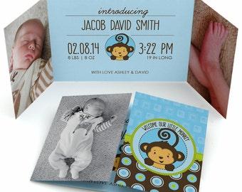 Set of 12 - Baby Boy Photo Birth Announcement - Monkey Boy Custom Baby Announcement