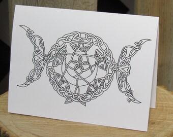 "Triple Goddess Card, Triple Goddess Greeting Card, Celtic Greeting Card, 5""x6.5"" Card, Goddess Cards, Moon Goddess, Goddess Art, Celtic Art"