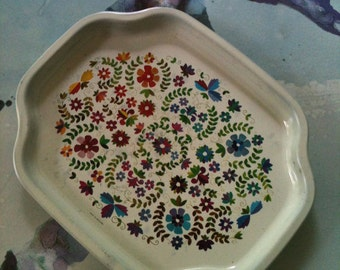 Set of Elite Trays England ~ Floral~Colorful  Shabby Chic Oranges//Blues/Purples/Greens/ Teal 1960s Trinkets