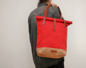 roll top Tote bag waxed canvas, red/sand color ,with leather handles and closures,hand wax