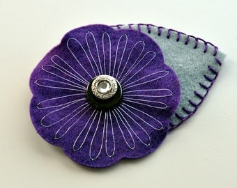 Purple and Silver embroidered Felt Button Brooch / Flower Buttonhole / Purple corsage / Wedding flowers