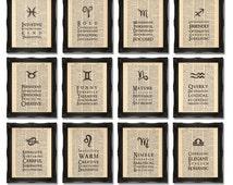 Zodiac Prints x12 Wall of Art - Printed on Dictionary Paper, 8x10 inch 12 Prints