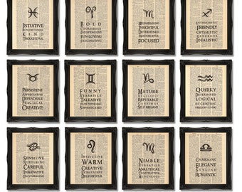 Zodiac Prints x12 Wall of Art - Printed on Dictionary Paper, 8x10 inch 12 Prints A058