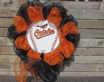 "24"" Baltimore Orioles Wreath Orioles Deco Mesh Wreath Orioles Baseball Wreath Sports Wreath Baseball Wreath Orange Black Orioles Tin Wreath"