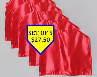 Superhero Capes PARTY SET of 5 satin with velcro for parties and more Super FAST shipping