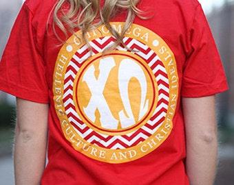 Chi Omega Chevron American Apparel Tshirt