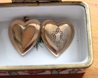 Art Deco Gold Filled Heart Locket