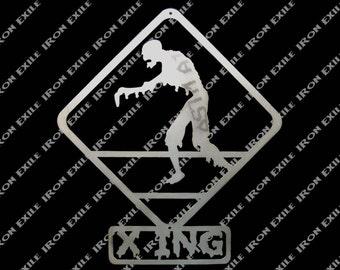 Zombie Crossing Metal Wall Art Sign