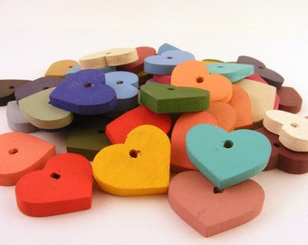 Painted Wood Heart Pendant Charms Mixed Colors Drilled Lot of 47