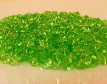 Plastic Bicone Beads Lime Green Peridot Destash Bead Lot .7 oz