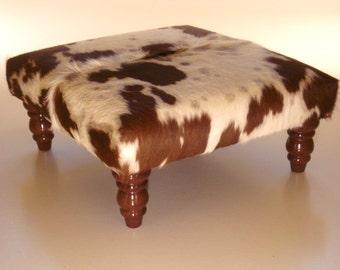 cowhide footstool, ottoman, real cowhide