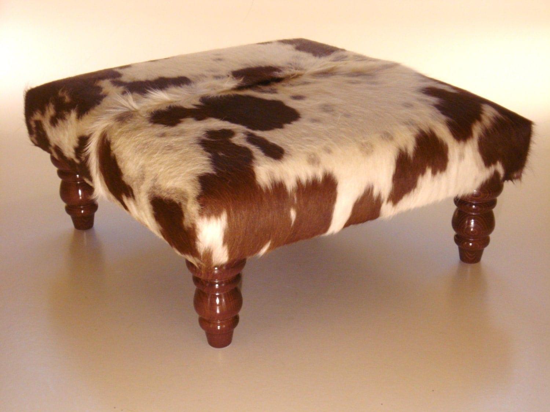 Cowhide Footstool Ottoman Real Cowhide