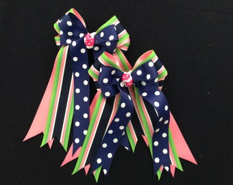 Hair Bows for Horse Shows/girls equestrian clothing/blue green pink