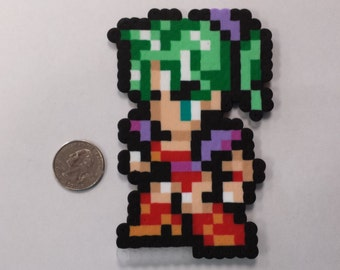 Final Fantasy VI Terra Branford in battle pose perler bead sprite
