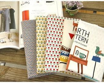 Scandinavian Nordic Swedish Vintage Fabric Cotton 100% Panel, 4 Design fabric Package