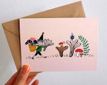 Scandinavian Gnome Mushroom Picker / Greeting Card