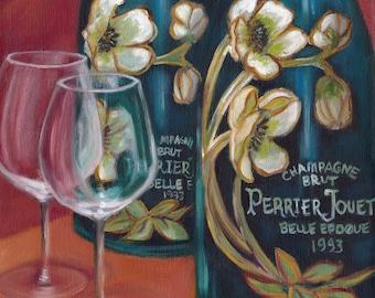 Celebration!, oil painting, champagne, wine glasses, perrier jouet, original art