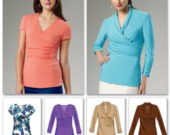 McCall's Sewing Pattern M6513 Misses' Ruched and Gathered Surplice Tops