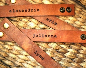 "Leather Personalized Bracelet 1"" wide with vintage typewriter font"