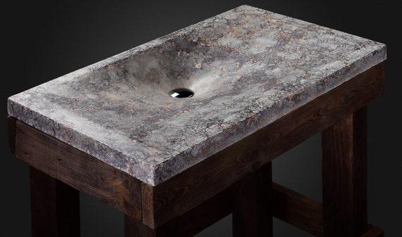Design-Beton Waschbecken vulkanische Creme