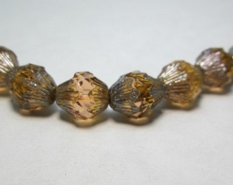 Czech Glass Pyramid Picasso Bead Champagne 15x12mm Pyramid Bead