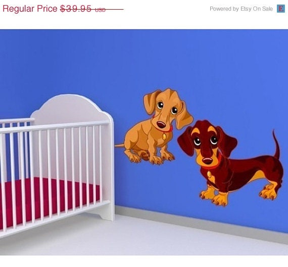 Baby dogs nursery wall decal deco sticker mural vinyl wall art - Deco slaapkamer baby meisje ...