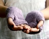 Ready to Ship - Organic Cotton Fingerless Gloves, Handknit in Lavender - Vegan Eco friendly Winter Accessories
