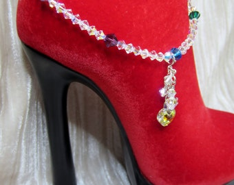 Clear AB & mix color Swarovski crystal ankle bracelet