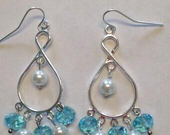 Blue and White Pearl Dangle Earrings - Pearl Earrings - Homemade Earrings - Homemade Jewelry - Dangle Earrings