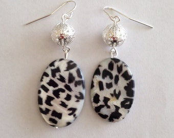 White Cheetah Print Earrings - Dangle Earrings - Homemade Earrings - Homemade Jewelry - Cheetah Print Jewelry