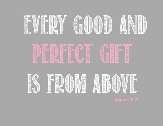 Every Good and Perfect Gift  Pink Nursery Print