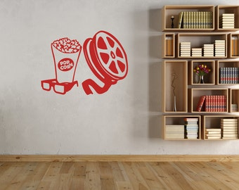Movie Popcorn Wall Decal-Removable Wall Art Sticker-Movie Room-Home Theater