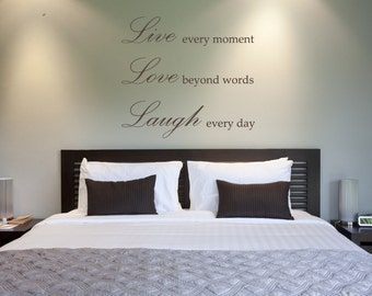 Live, Love & Laugh Wall Decal-Removable Wall Art Sticker-Multiple Colors