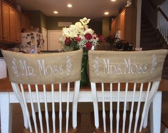 Burlap Monogrammed Wedding Chair Covers   Set Of 2