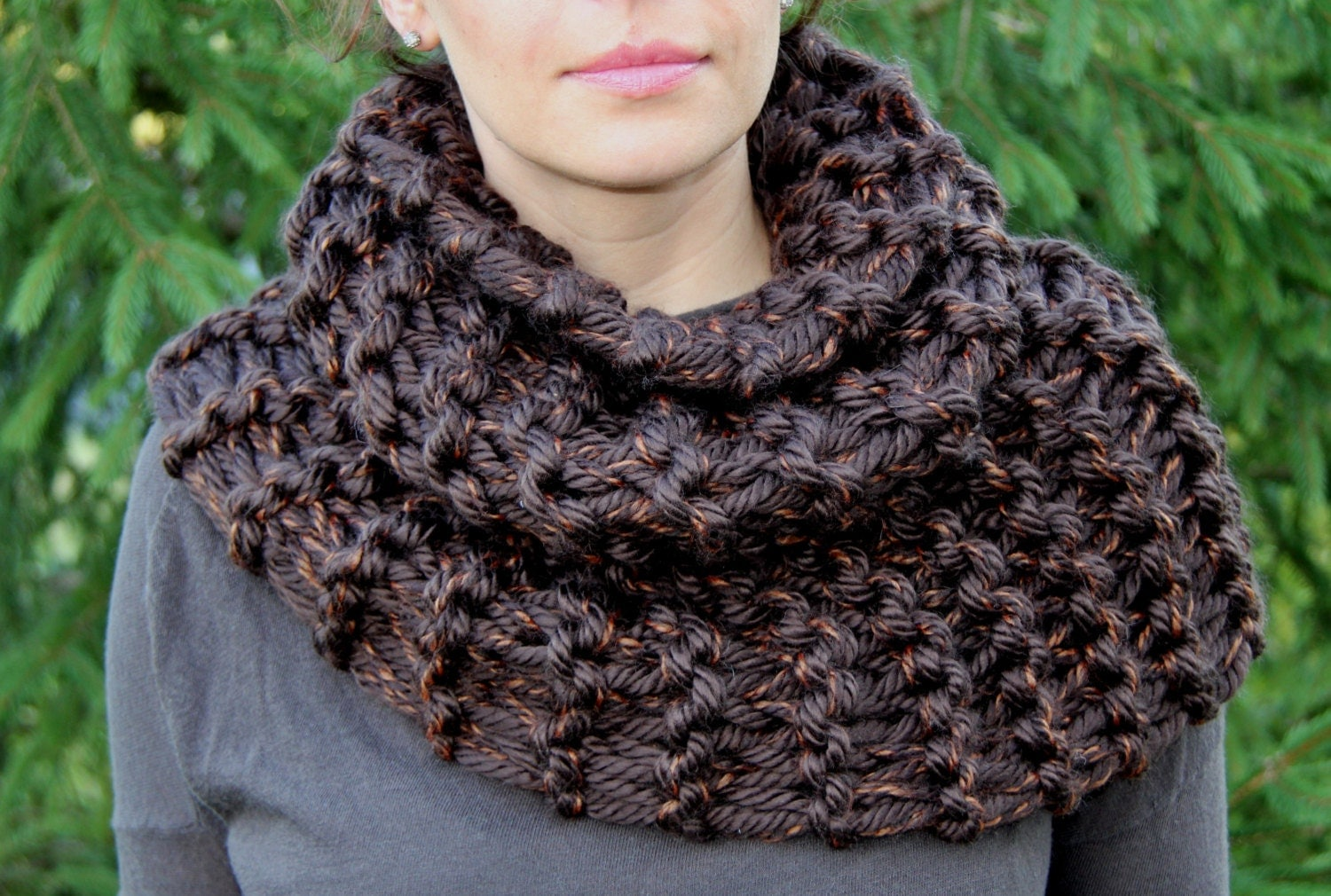 Knitting Pattern Outlander Cowl : Outlander Inspired Claires Cowl in Sequoia Brown Super