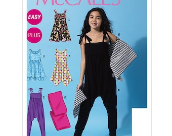 OUT of PRINT McCall's Pattern M6550 Girls'/Girls' Plus Dresses, Jumpsuit and Wrap