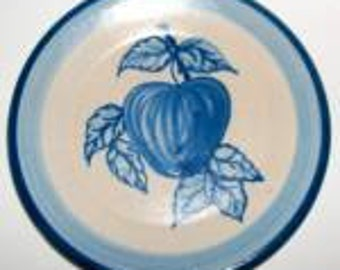 "Vintage Original Dorchester Pottery Fruit Pattern Dessert Plate - 7-1/2"" diameter -Peach and Leaves Design"