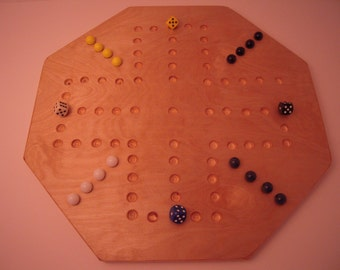 4 Player Aggravation Game Board with glass marbles and matching dice