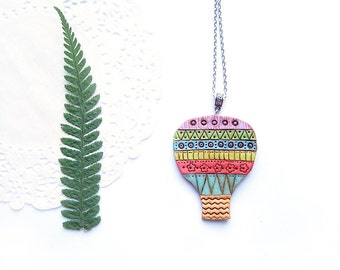 Hot Air Balloon funky necklace - Colorful dreamer rainbow pendant - Polymer clay funny jewelry - Flying Dreams - MAKE TO ORDER