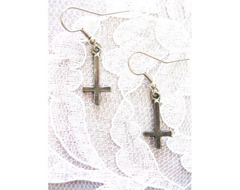 Evil Satanic Occult Ritual INVERTED CROSS Inverted Crosses Solid Hand Cast Silver Color Pewter Charms Dangling Real Metal Dark Side Earrings