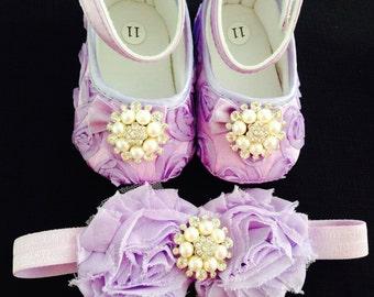 Purple/ lavender baby rosette satin shoes and headband set--purple crib shoes--newborn rosette shoes