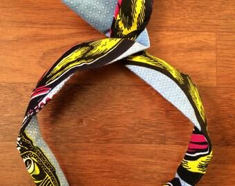 Bandeau chouchou bunny headwrap serre tete bandeau bun wrap accessoire cheveux wax tissu africain ethnique accessoire cheveux