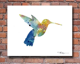 Humming Bird Art Print - Abstract Watercolor Painting - Wall Decor