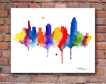 Cincinnati Skyline - Abstract Watercolor Art Print - Wall Decor