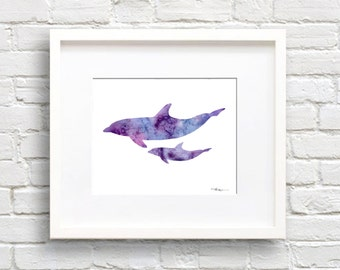 Dolphins Art Print - Abstract Watercolor Painting - Wall Decor