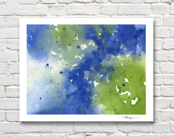 """Abstract Watercolor Painting - """"Blue and Green""""  - Contemporary Wall Decor"""