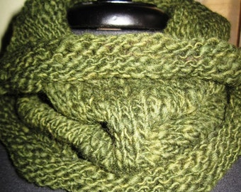 Olive Green Cowl, Hand Knit Cowl, Wool Cowl