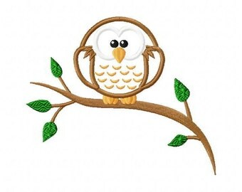 Owl on a Branch Applique Embroidery Design