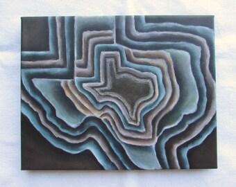 Texas Contemporary --Texas Wall Decor--Brown,Orange,Blue--Giclee Print on Canvas--Modern Texas Art.